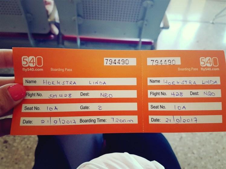 Handgeschreven ticket Kenia