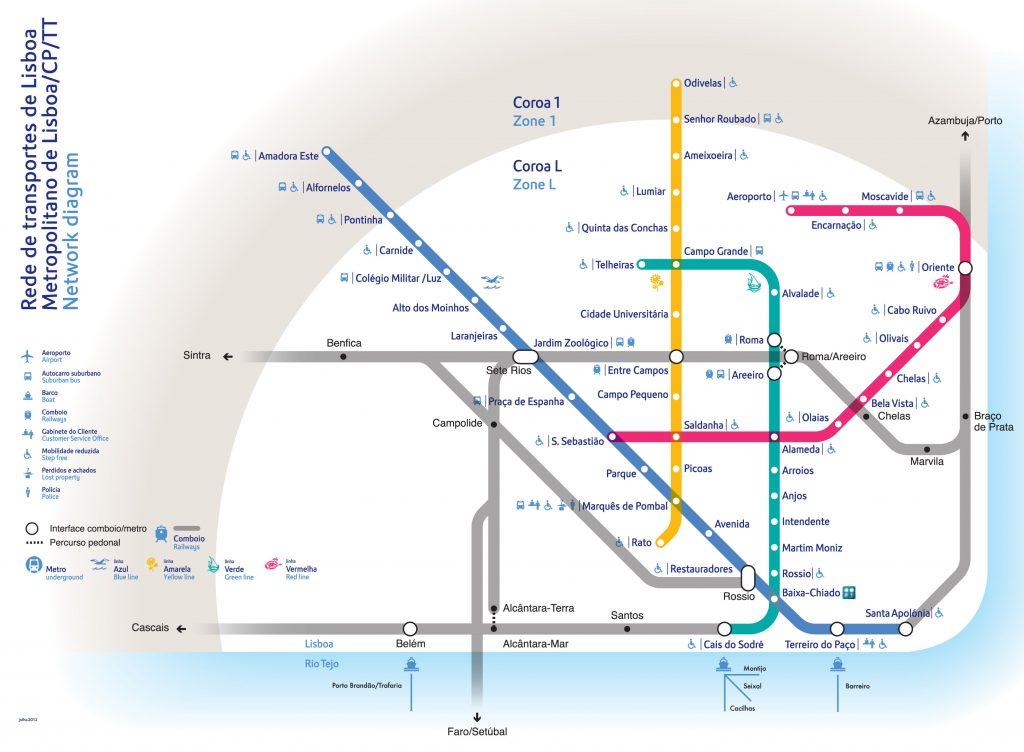 route kaart metro lissabon portugal