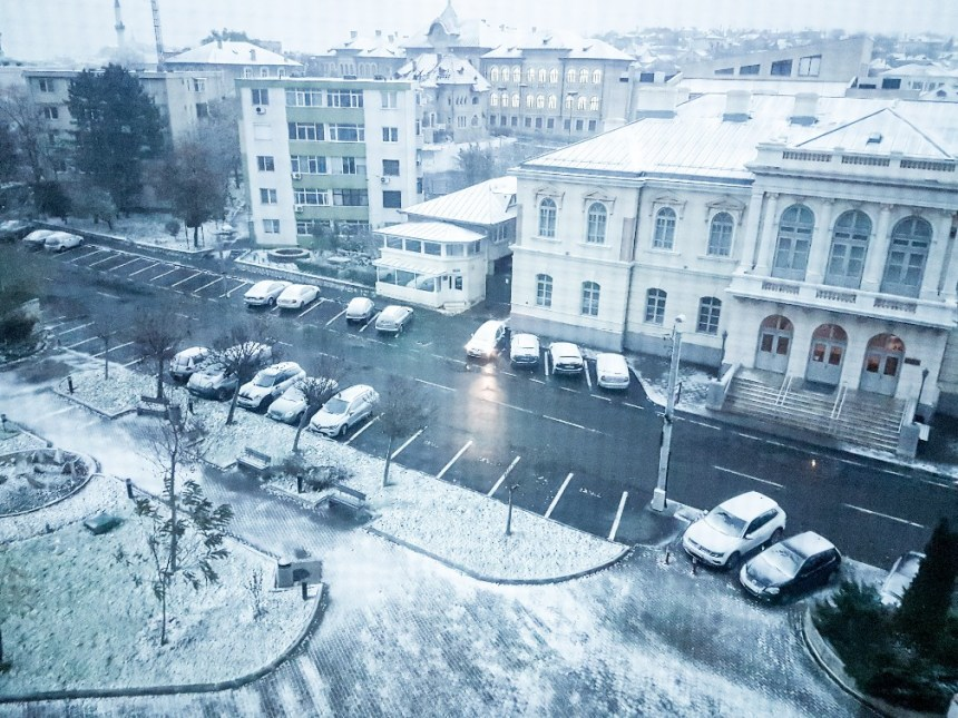 Tulcea Roemenië winterweer sneeuw