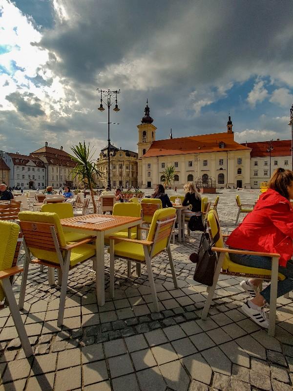 Sibiu Roemenië terras zomer