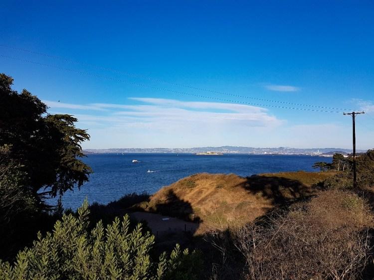 Uitzicht over San Francisco vanaf Golden Gate viewpoint USA