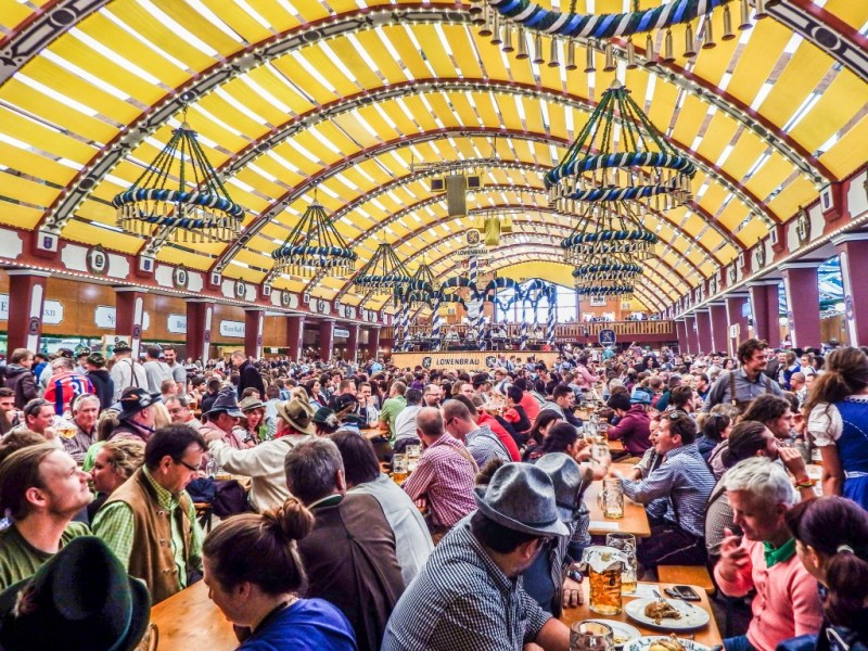Lowenbrau beer tent at Oktoberfest in Munich Germany