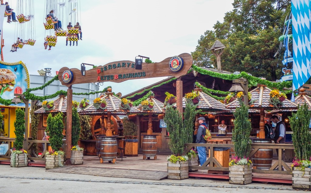 Beer tent and ride at Oktoberfest in Munich Germany