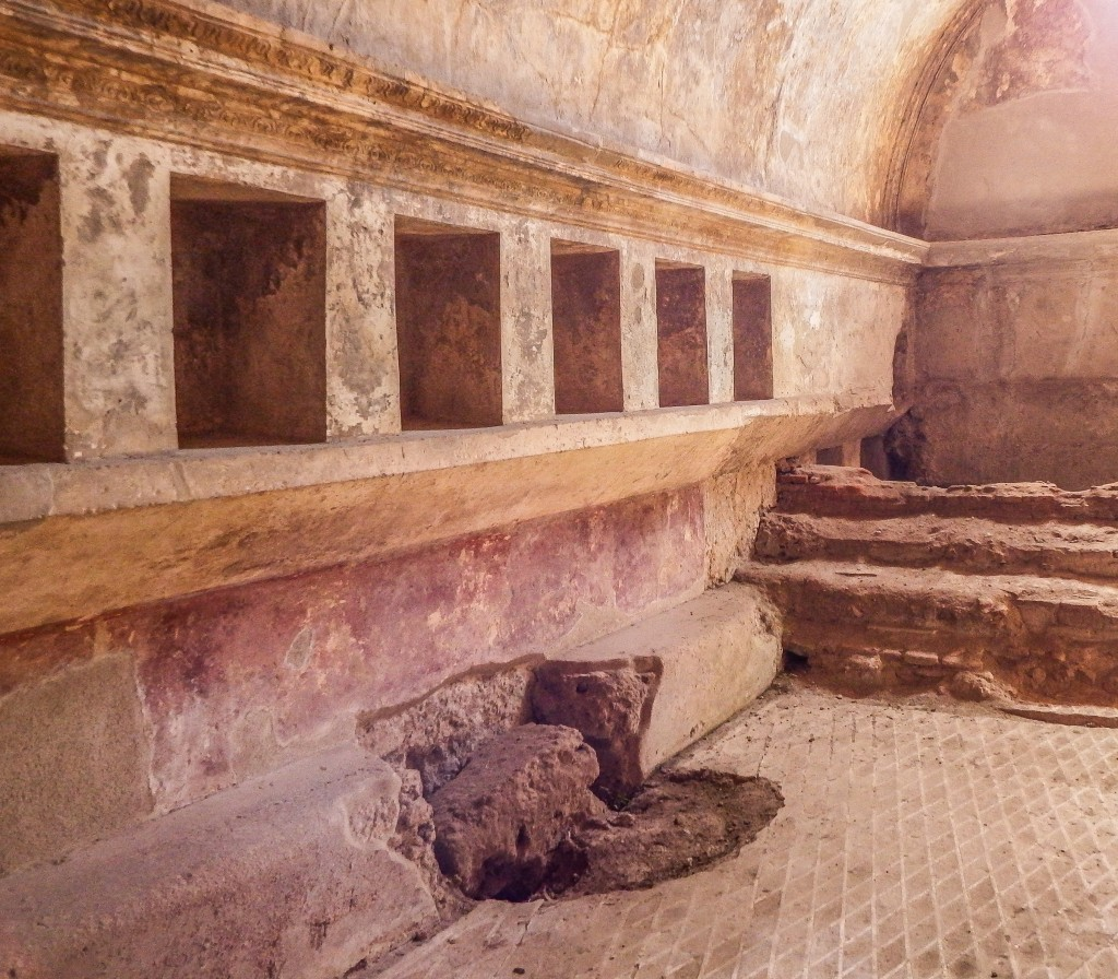 The ruins and bath house of Pompeii in southern Italy
