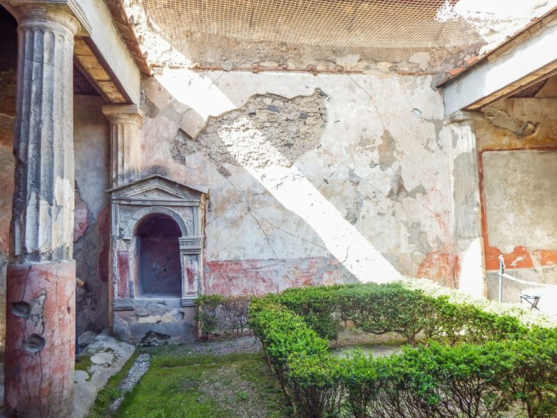 The courtyard ruins of Pompeii in southern Italy