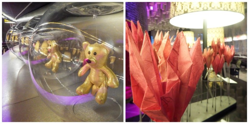 Weird bears and paper decor at the Barcelo Raval hotel in Barcelona, Spain