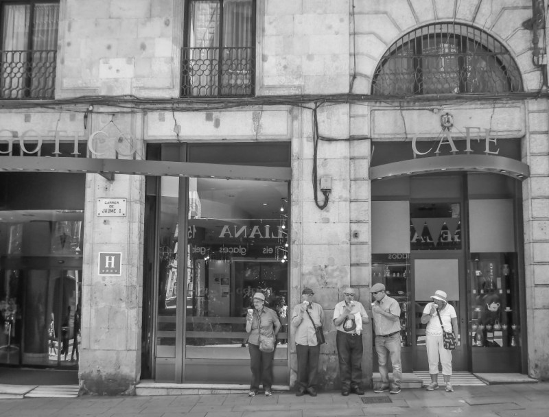 Tourists in the gothic quarter of Barcelona, Spain
