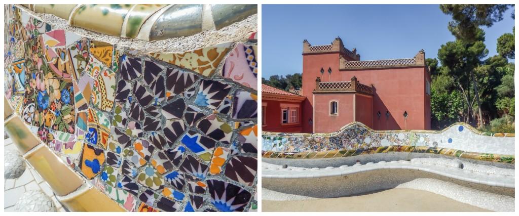Mosaics of Antoni Gaudí's Park Güell in Barcelona, Spain