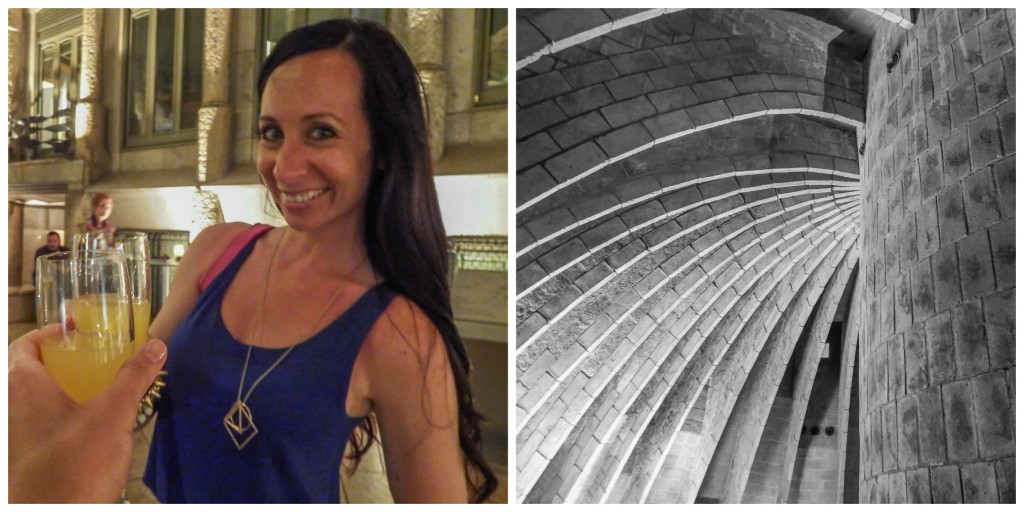 Enjoying some complementary cava at La Pedrera: The Origins at Antoni Gaudí's Casa Mila in Barcelona, Spain