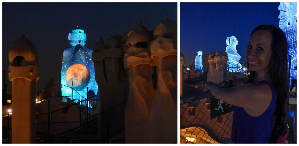 Enjoying La Pedrera: The Origins on the rooftop of Antoni Gaudí's Casa Mila in Barcelona, Spain