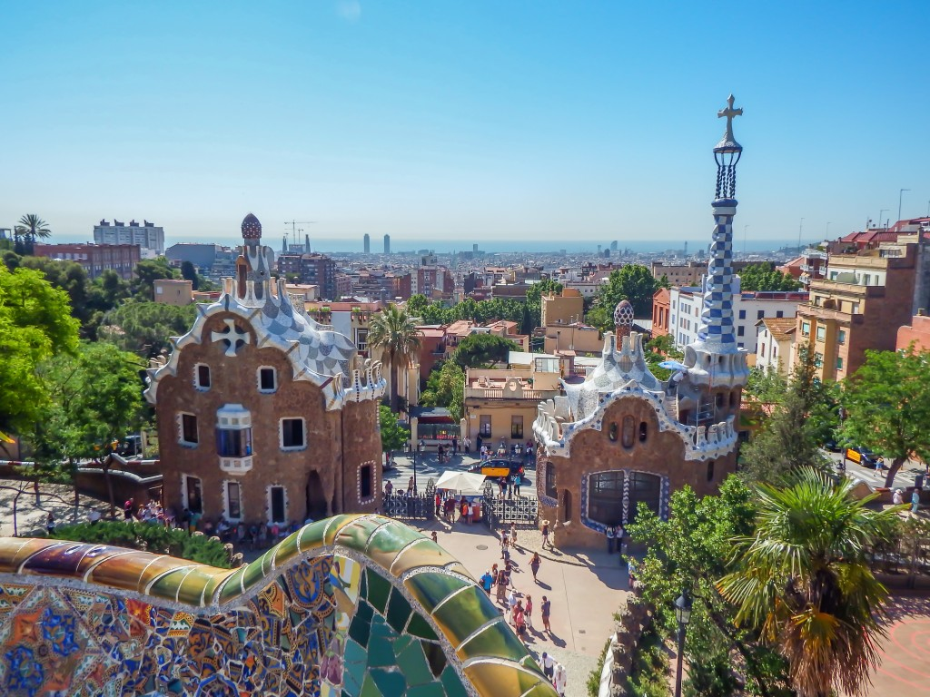 The designs of Antoni Gaudí in Park Güell in Barcelona, Spain