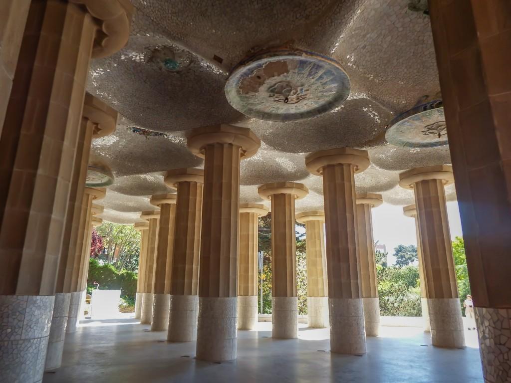 The Hall of 100 Columns at Antoni Gaudí's Park Güell in Barcelona, Spain
