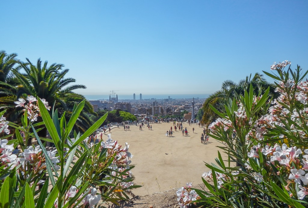View of Barcelona from Gaudí's Park Güell in Barcelona, Spain