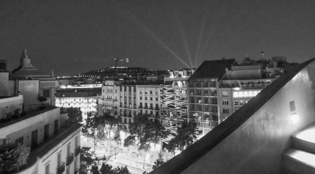 View from the rooftop of Antoni Gaudí's Casa Mila (aka La Pedrera) in Barcelona, Spain