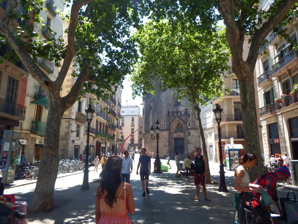 Strolling around El Born district of Barcelona, Spain