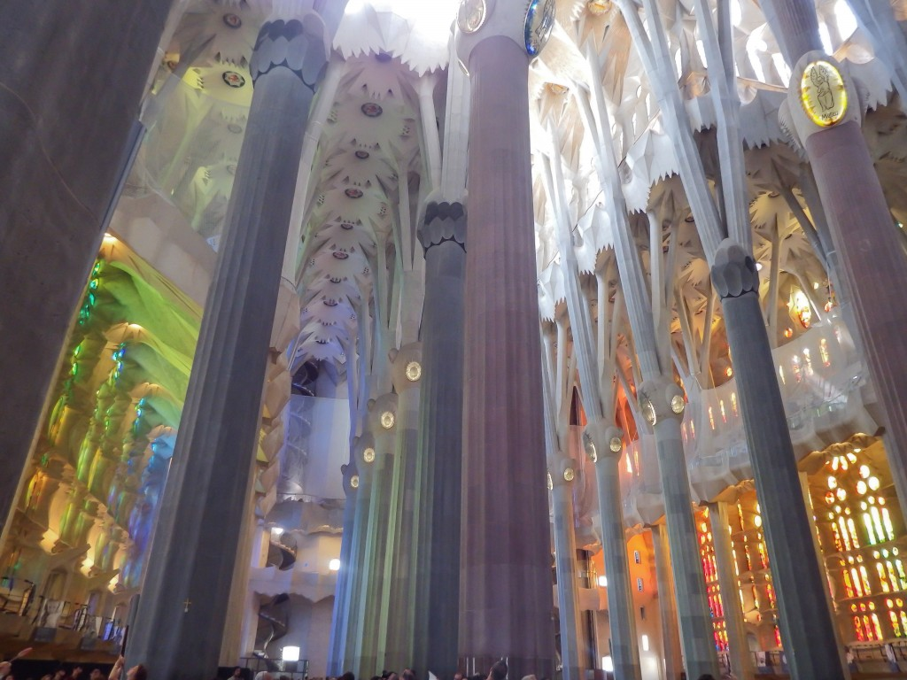 The colorful interior of Gaudí's Sagrada Familia in Barcelona, Spain