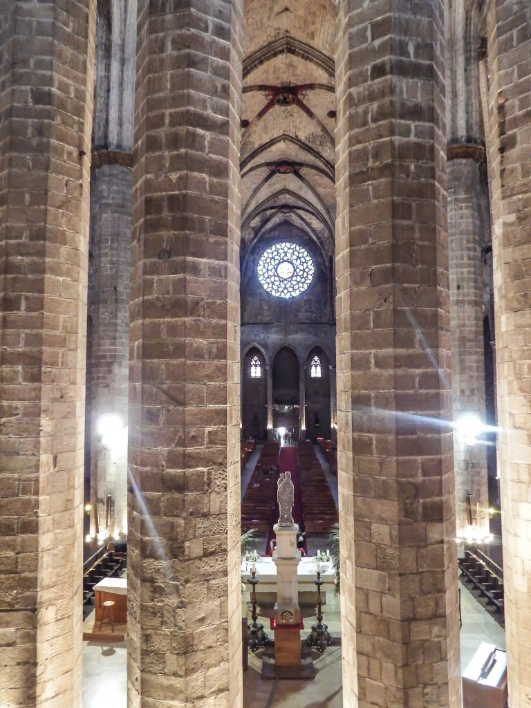 The gothic interior of the church of Santa Maria del Mar in Barcelona, Spain
