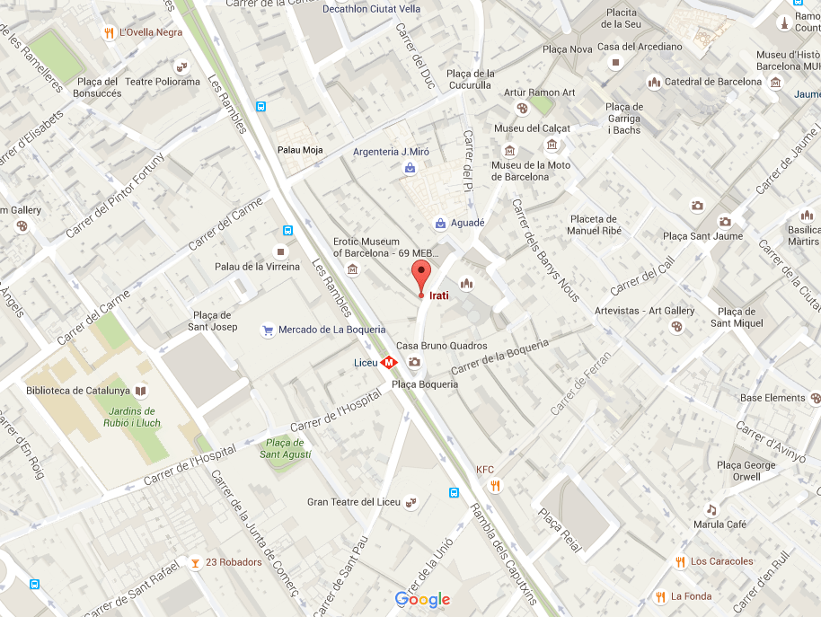 Map of Irati Taverna Basca for tapas in Barcelona's gothic quarter