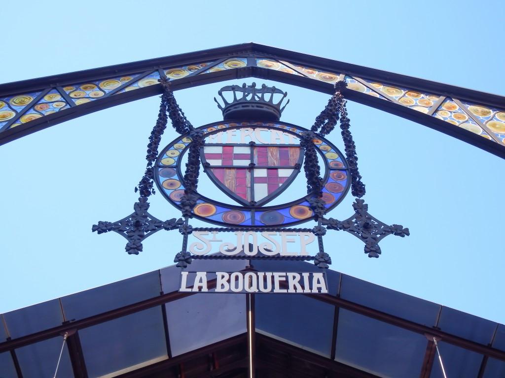 The entrance to La Boqueria in Barcelona, Spain