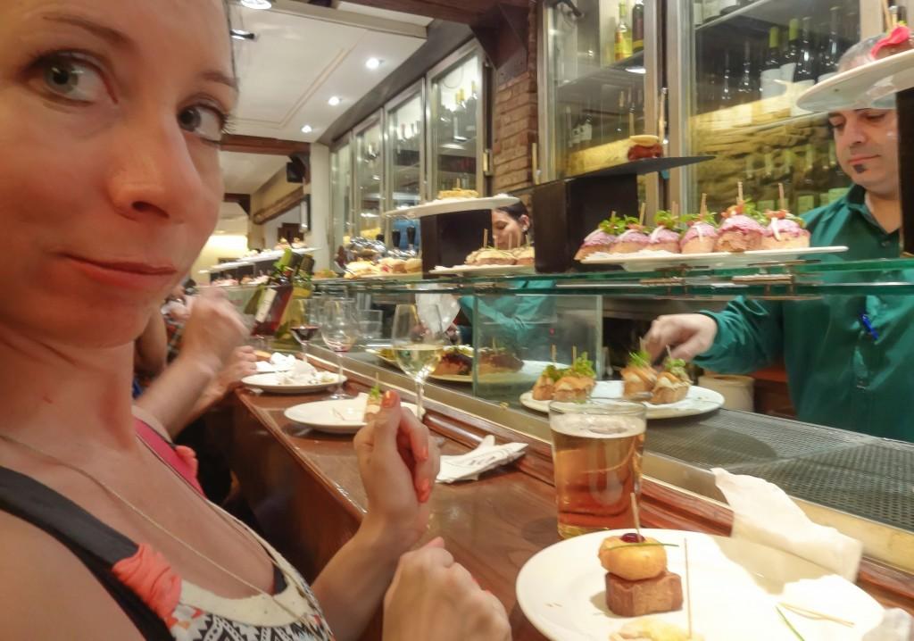 Eating tapas in the Gothic Quarter of Barcelona, Spain