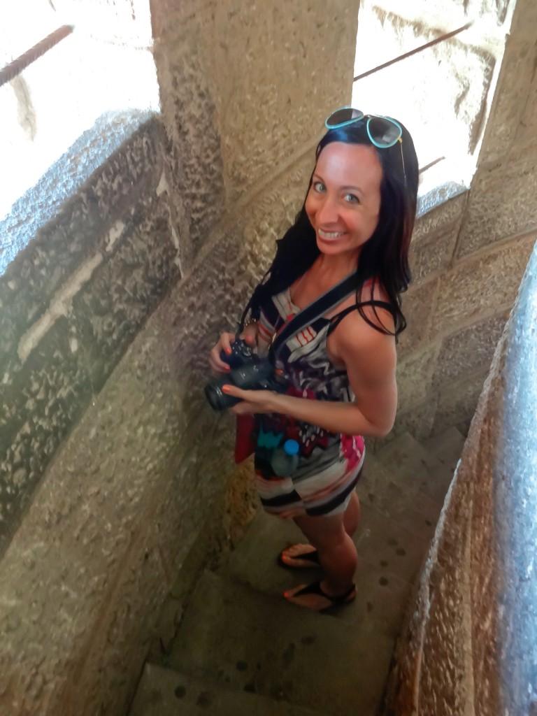 Climbing the towers of Sagrada Familia in Barcelona, Spain