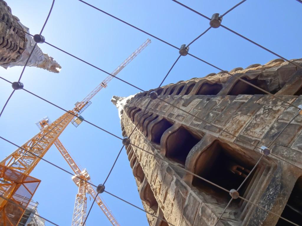 Construction on the towers of Gaudí's Sagrada Familia in Barcelona, Spain
