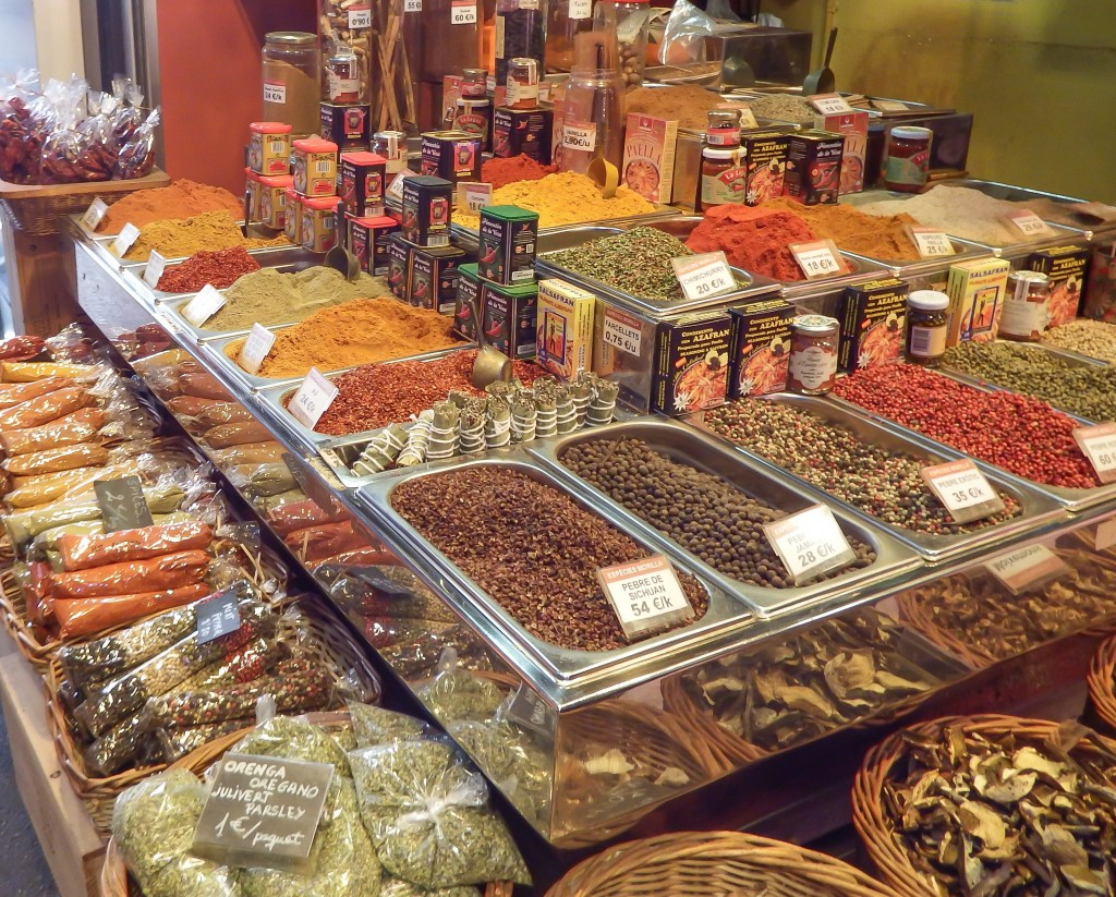 Spices at La Boqueria market in Barcelona, Spain