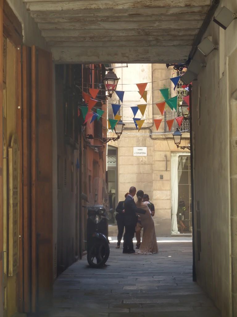 Bridal party in El Born district of Barcelona, Spain