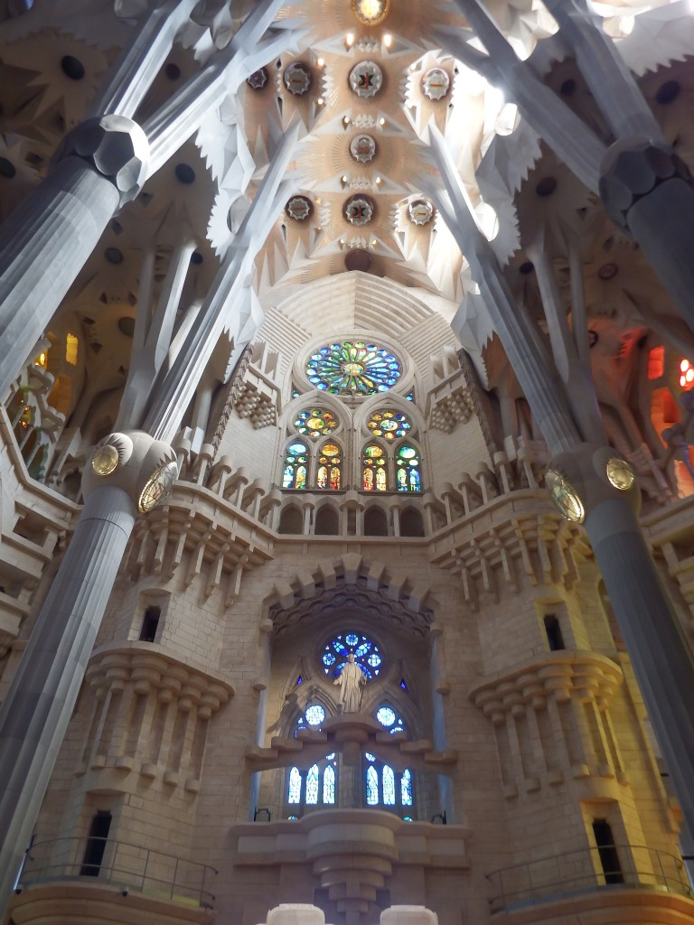 The interior of Gaudí's Sagrada Familia in Barcelona, Spain