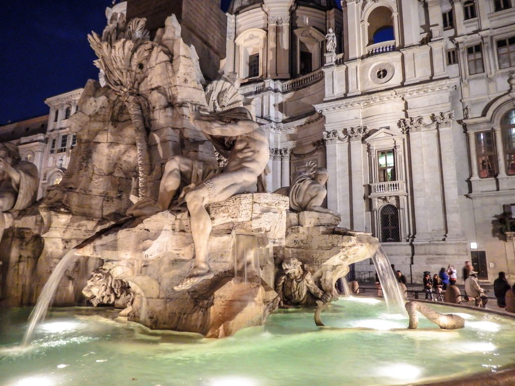 St. Agnes and Fontana dei Quattro Fiumi in Piazza Navona during 2 days in Rome, Italy
