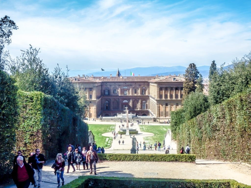 The view of Pitti Palace and Florence, Italy from Boboli Gardens