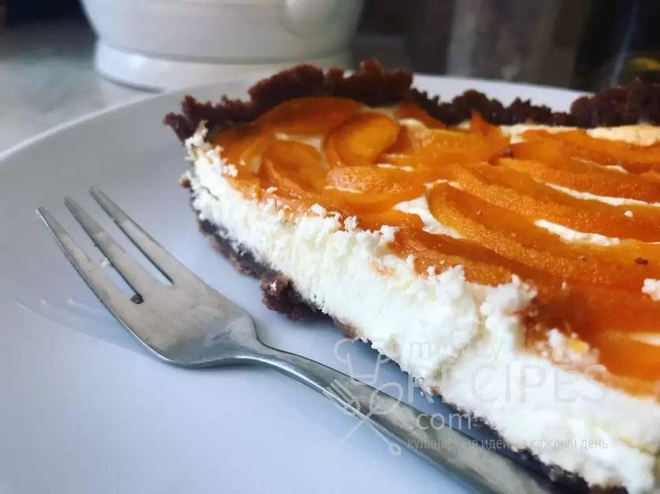 Открытый творожный пирог  с абрикосами
