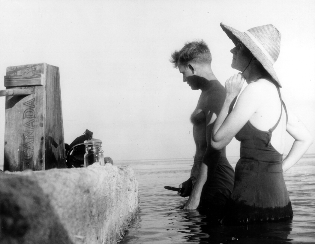 Rachel Carson in the ocean in Florida, 1955 - photo, R. G. Schmidt, USFWS