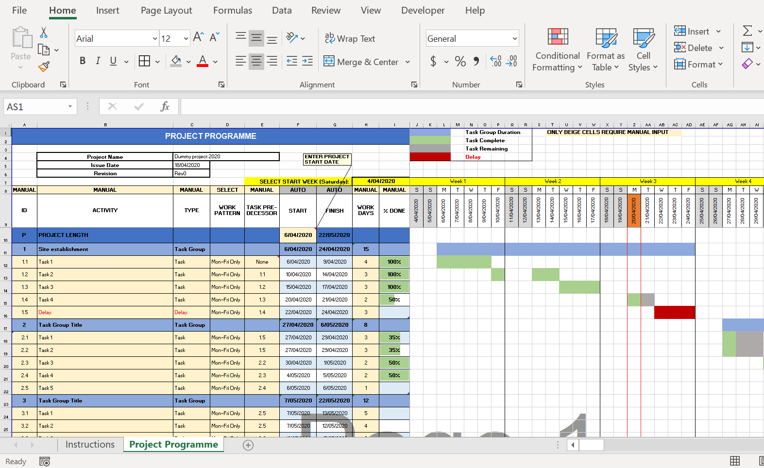 Excel Templates For Construction Project Management
