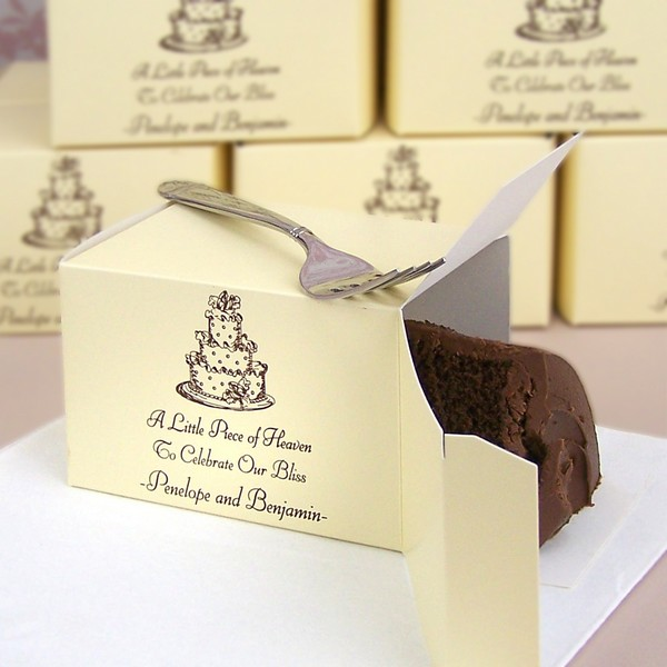 Ivory cake box printed with design WD36, cheltenham lettering style, and chocolate matte imprint