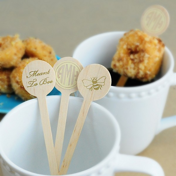 6 In Personalized Round Top Wood Drink Stirrers My