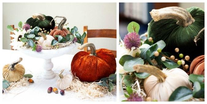 tuesday turn about 23 fall happenings velvet pumpkin centerpiece in pedestal bowl