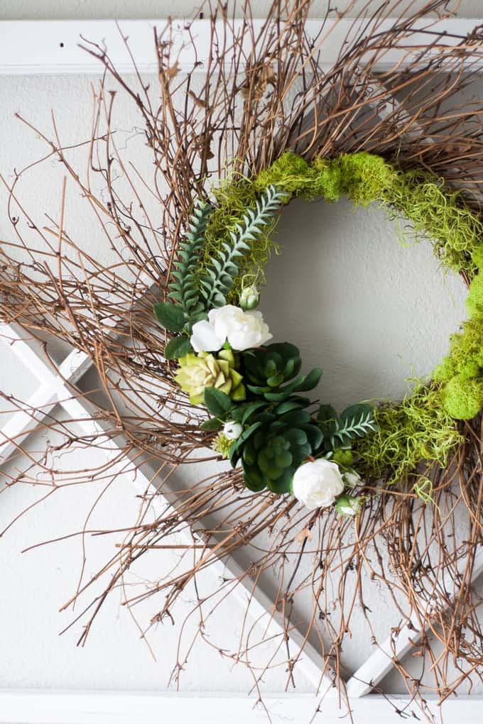 DIY 10-minute spring succulent wreath closeup on window pane