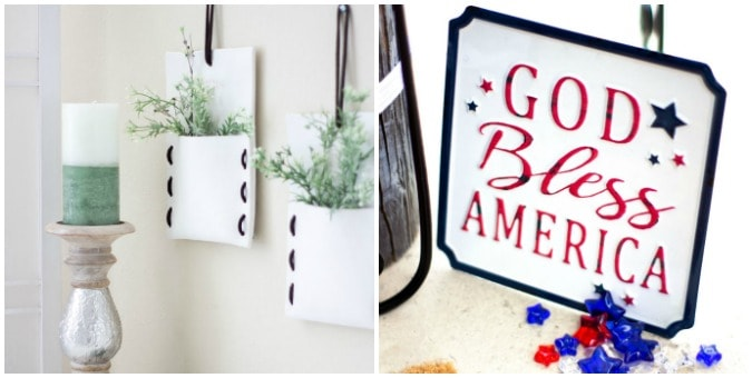 tuesday turn about 51 summer tables white folded wall pockets with greenery and patriotic sign with beads on patio
