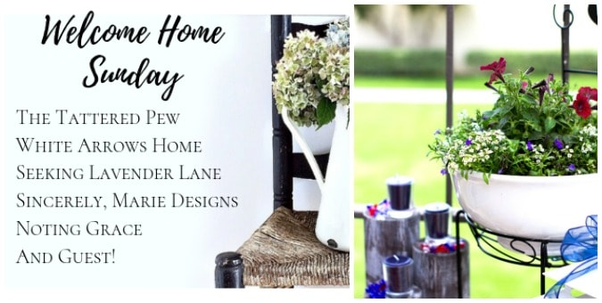tuesday turn about paper pleasantries collage with welcome home sunday and red white and blue patio decor