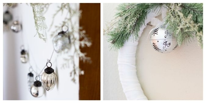 tuesday turn about christmas kitchens MWA collage of mercury glass garland and velvet wreath