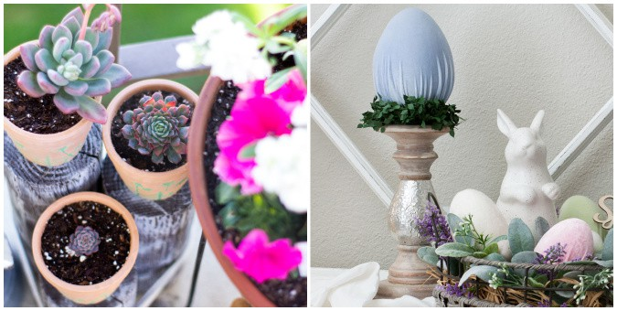 tuesday turn about 90 spring updates collage of container garden and velvet easter egg on candle holder