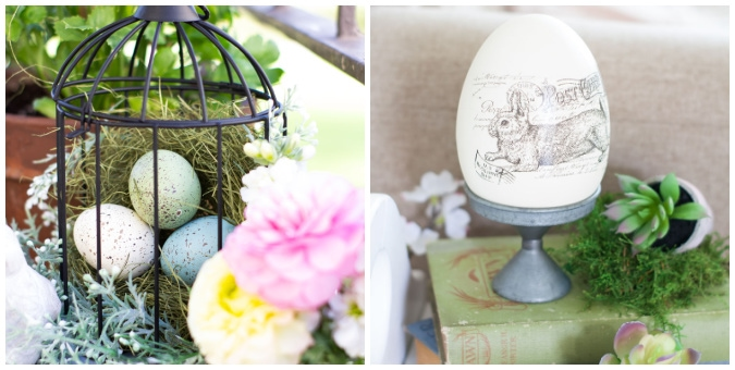 tuesday turn about 93 spring homes collage of caged eggs in a nest with flowers and ceramic bunny egg on pedestal of books