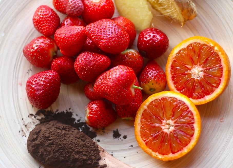 Strawberry and blood orange juice