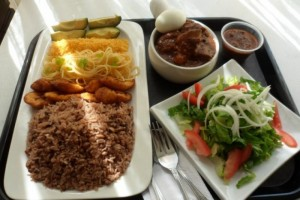 Ghanaian food Waakye and Kelewele on British Airways menu