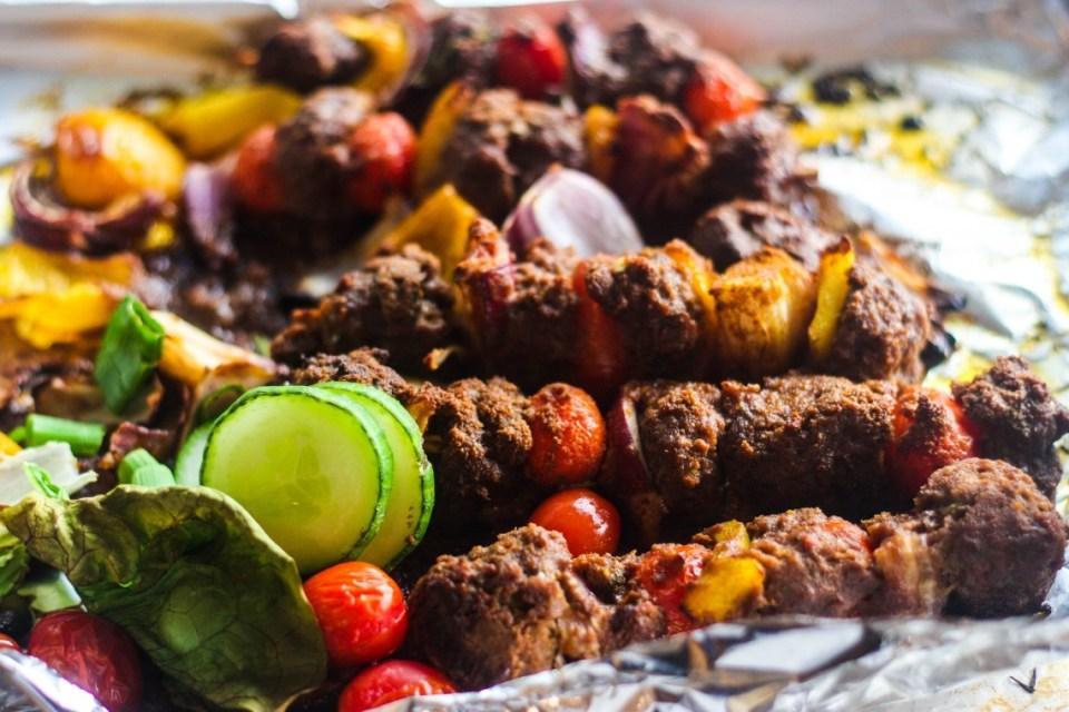 Making Suya Minced Beef Kebab