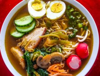 Suya pork ramen noodles soup