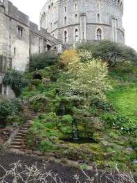 part of Windsor Castle with garden in foreground