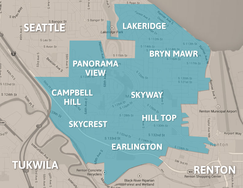 Map of West Hill Neighborhoods
