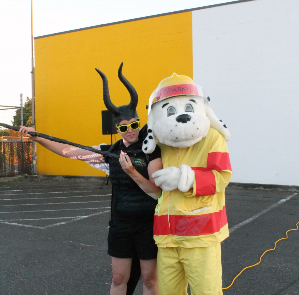 Skyway Outdoor Cinema 2015 - Maleficent and Sparky the Fire Dog from KCFD20